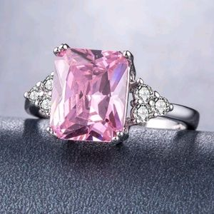 silver ring women princess cut pink sapphire